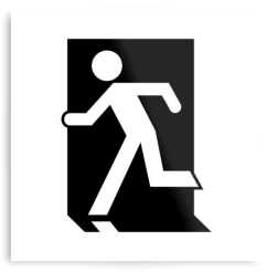 Running Man Fire Safety Exit Sign Emergency Evacuation Printed Metal 6