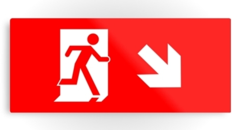 Running Man Fire Safety Exit Sign Emergency Evacuation Printed Metal 8