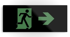 Running Man Fire Safety Exit Sign Emergency Evacuation Printed Metal 80