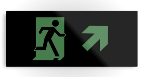 Running Man Fire Safety Exit Sign Emergency Evacuation Printed Metal 81