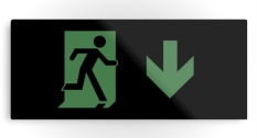 Running Man Fire Safety Exit Sign Emergency Evacuation Printed Metal 83