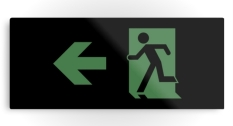 Running Man Fire Safety Exit Sign Emergency Evacuation Printed Metal 86
