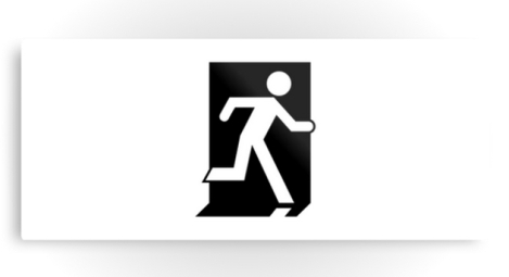 Running Man Fire Safety Exit Sign Emergency Evacuation Printed Metal 96
