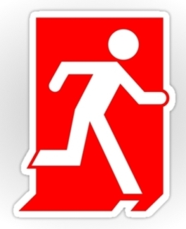 Running Man Fire Safety Exit Sign Emergency Evacuation Sticker Decals 1