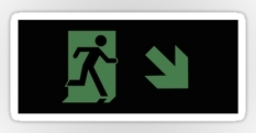 Running Man Fire Safety Exit Sign Emergency Evacuation Sticker Decals 108