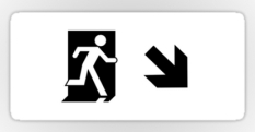 Running Man Fire Safety Exit Sign Emergency Evacuation Sticker Decals 121
