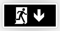 Running Man Fire Safety Exit Sign Emergency Evacuation Sticker Decals 56