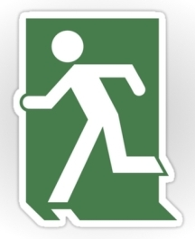 Running Man Fire Safety Exit Sign Emergency Evacuation Sticker Decals 61