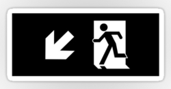 Running Man Fire Safety Exit Sign Emergency Evacuation Sticker Decals 62