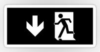Running Man Fire Safety Exit Sign Emergency Evacuation Sticker Decals 63