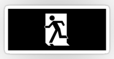 Running Man Fire Safety Exit Sign Emergency Evacuation Sticker Decals 64