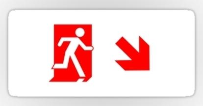 Running Man Fire Safety Exit Sign Emergency Evacuation Sticker Decals 68