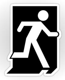 Running Man Fire Safety Exit Sign Emergency Evacuation Sticker Decals 72