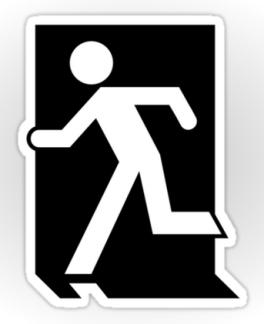 Running Man Fire Safety Exit Sign Emergency Evacuation Sticker Decals 83
