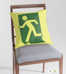 Running Man Fire Safety Exit Sign Emergency Evacuation Throw Pillow Cushion 1