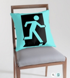 Running Man Fire Safety Exit Sign Emergency Evacuation Throw Pillow Cushion 100