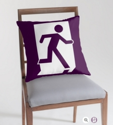 Running Man Fire Safety Exit Sign Emergency Evacuation Throw Pillow Cushion 101