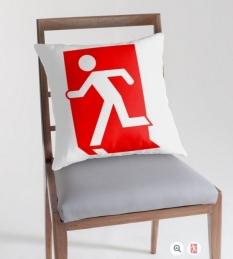 Running Man Fire Safety Exit Sign Emergency Evacuation Throw Pillow Cushion 104