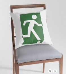 Running Man Fire Safety Exit Sign Emergency Evacuation Throw Pillow Cushion 105