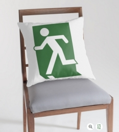 Running Man Fire Safety Exit Sign Emergency Evacuation Throw Pillow Cushion 106