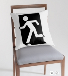 Running Man Fire Safety Exit Sign Emergency Evacuation Throw Pillow Cushion 108