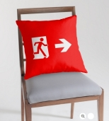 Running Man Fire Safety Exit Sign Emergency Evacuation Throw Pillow Cushion 109