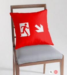 Running Man Fire Safety Exit Sign Emergency Evacuation Throw Pillow Cushion 110