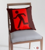 Running Man Fire Safety Exit Sign Emergency Evacuation Throw Pillow Cushion 111