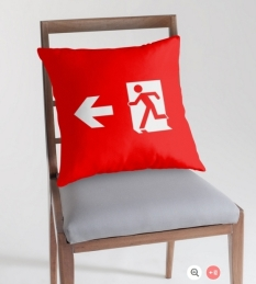 Running Man Fire Safety Exit Sign Emergency Evacuation Throw Pillow Cushion 116