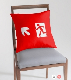 Running Man Fire Safety Exit Sign Emergency Evacuation Throw Pillow Cushion 117