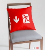 Running Man Fire Safety Exit Sign Emergency Evacuation Throw Pillow Cushion 119