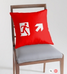 Running Man Fire Safety Exit Sign Emergency Evacuation Throw Pillow Cushion 121