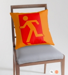 Running Man Fire Safety Exit Sign Emergency Evacuation Throw Pillow Cushion 122