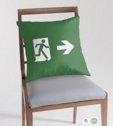 Running Man Fire Safety Exit Sign Emergency Evacuation Throw Pillow Cushion 124