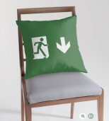 Running Man Fire Safety Exit Sign Emergency Evacuation Throw Pillow Cushion 127