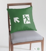 Running Man Fire Safety Exit Sign Emergency Evacuation Throw Pillow Cushion 131