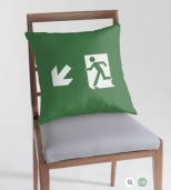 Running Man Fire Safety Exit Sign Emergency Evacuation Throw Pillow Cushion 132