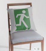 Running Man Fire Safety Exit Sign Emergency Evacuation Throw Pillow Cushion 133