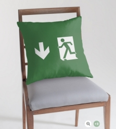 Running Man Fire Safety Exit Sign Emergency Evacuation Throw Pillow Cushion 134