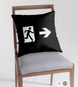 Running Man Fire Safety Exit Sign Emergency Evacuation Throw Pillow Cushion 137