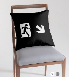 Running Man Fire Safety Exit Sign Emergency Evacuation Throw Pillow Cushion 139