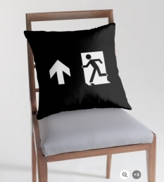 Running Man Fire Safety Exit Sign Emergency Evacuation Throw Pillow Cushion 142