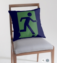 Running Man Fire Safety Exit Sign Emergency Evacuation Throw Pillow Cushion 144