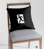 Running Man Fire Safety Exit Sign Emergency Evacuation Throw Pillow Cushion 148