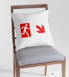 Running Man Fire Safety Exit Sign Emergency Evacuation Throw Pillow Cushion 152