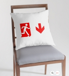 Running Man Fire Safety Exit Sign Emergency Evacuation Throw Pillow Cushion 153