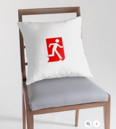 Running Man Fire Safety Exit Sign Emergency Evacuation Throw Pillow Cushion 154