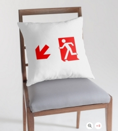 Running Man Fire Safety Exit Sign Emergency Evacuation Throw Pillow Cushion 159