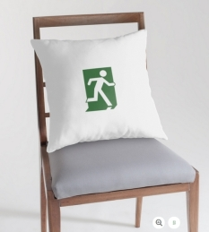 Running Man Fire Safety Exit Sign Emergency Evacuation Throw Pillow Cushion 16