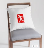 Running Man Fire Safety Exit Sign Emergency Evacuation Throw Pillow Cushion 161